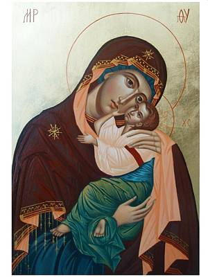 Handmade Icon Painting - Holy Virgin Of Tenderness by Janeta Todorova