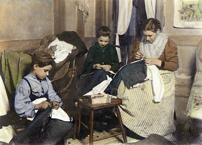The Sewing Room Photograph - Home Industry, C1910 by Granger