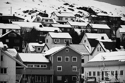 Honningsvag Town Traditional Wooden Houses Finnmark Norway Europe Print by Joe Fox