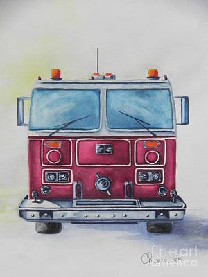 Fire Department Painting - Honor Them by Chrisann Ellis