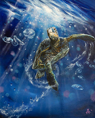 Marine Life Painting - Honu's Dance by Marco Antonio Aguilar