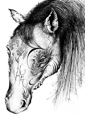 Wild Horses Drawing - Horse Head by Penelope Fedor