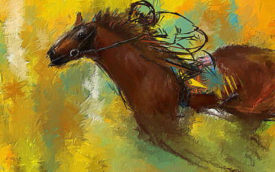 Sports Paintings - Horse Racing Abstract by Lourry Legarde