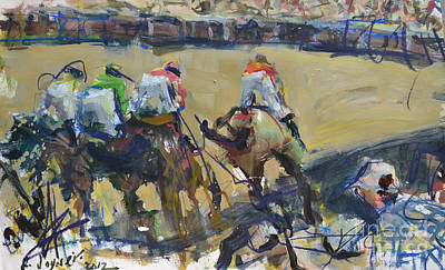 Horse Racing Painting Art Print