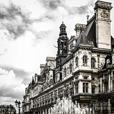 Hotel De Ville In Paris Art Print by Elena Elisseeva