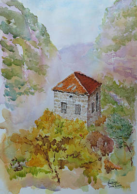 House Between Mountains Art Print by Ghazi Toutounji