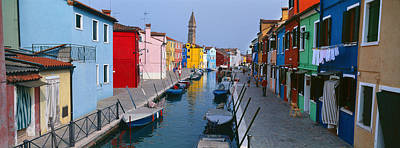 In A Row Photograph - Houses Along A Canal, Burano, Venice by Panoramic Images