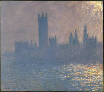 Vintage Signs - Houses Of Parliament by Claude Monet