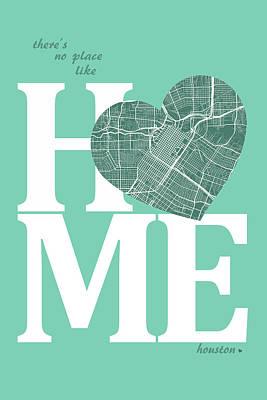Austin Digital Art - Houston Street Map Home Heart - Houston Texas Road Map In A Hear by Jurq Studio