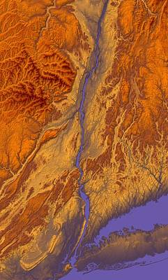 Boardroom Digital Art - Hudson River Valley Map Art by Paul Hein