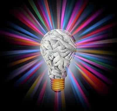 Human Brain In Shape Of Lightbulb Art Print