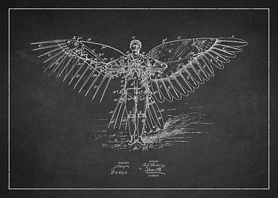 Icarus Flying Machine Patent Drawing Front View Art Print by Aged Pixel