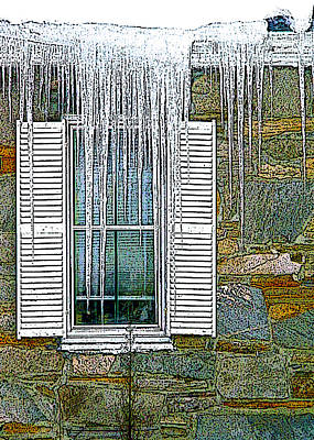 Old Country Roads Digital Art - Ice By The Window by Nancy Griswold