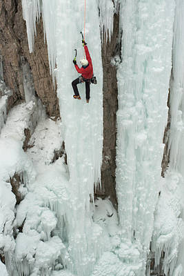 Ice Climber Ascending At Ouray Ice Art Print by Howie Garber