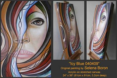 Art Print featuring the painting Icy Blue 040409 by Selena Boron