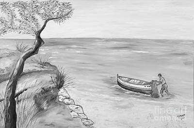 Boat Drawing - Il Pescatore Solitario by Loredana Messina