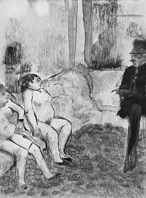 Choosing Drawing - Illustration From La Maison Tellier by Edgar Degas