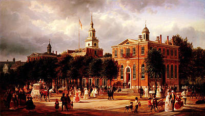 Independence Hall Painting - Independence Hall In Philadelphia by Celestial Images