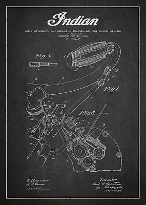 Motorcycle Digital Art - Indian Motorcycle Patent From 1904 - Dark by Aged Pixel