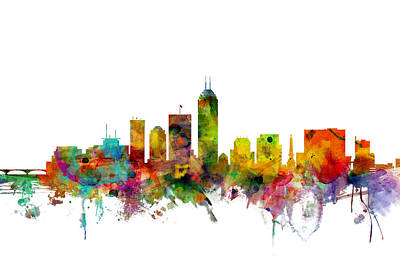 Silhouette Digital Art - Indianapolis Indiana Skyline by Michael Tompsett