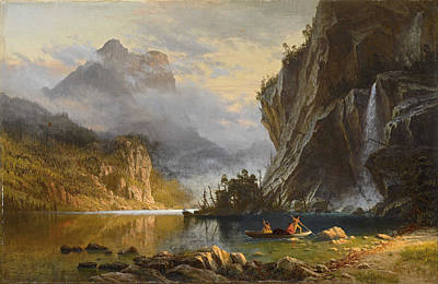Landscape. Mountain Trees Water Bush Painting - Indians Spear Fishing by Albert Bierstadt