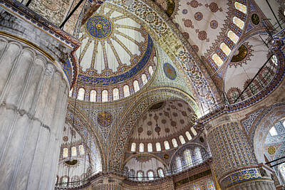Medieval Temple Photograph - Interior Of Blue Mosque In Istanbul Turkey by Brandon Bourdages