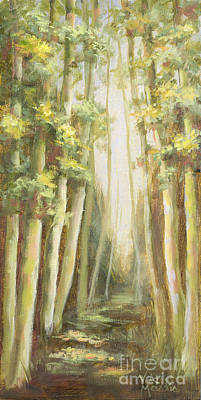 Into The Woods-series With Gold Leaf By Vic Mastis Art Print by Vic  Mastis