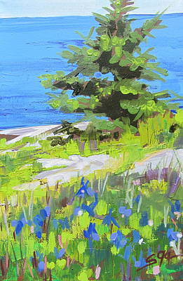 Painting - Iris By The Sea by Sarah Gayle Carter