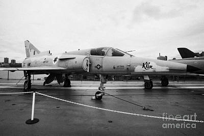 Israel Aircraft Industries Kfir On Disply On The Flight Deck At The Intrepid Sea Air Space Museum Art Print by Joe Fox