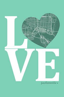 Jacksonville Digital Art - Jacksonville Street Map Love - Jacksonville Florida Road Map In  by Jurq Studio