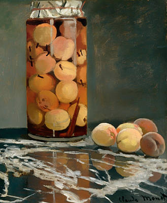 Glass Table Reflection Painting - Jar Of Peaches by Mountain Dreams