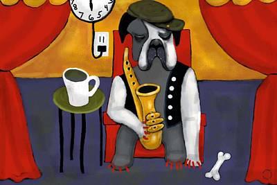 Surrealism Digital Art Rights Managed Images - Jazz Dog Royalty-Free Image by Jennifer Taylor