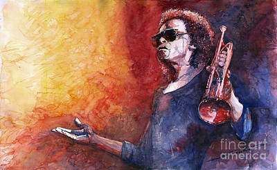 Music Instrument Wall Art - Painting - Jazz Miles Davis by Yuriy Shevchuk