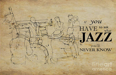 Jazz Painting Royalty Free Images - Jazz Quote Royalty-Free Image by Drawspots Illustrations