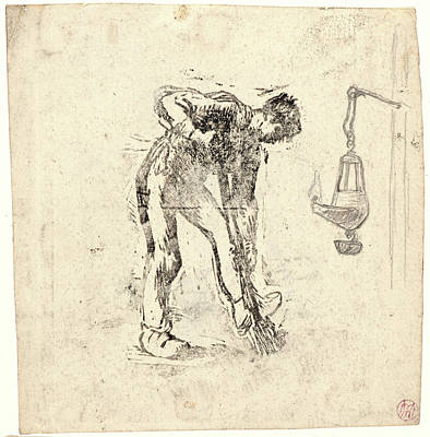 Old Lamp Drawing - Jean-françois Millet French, 1814 - 1875. Peasant Digging by Litz Collection
