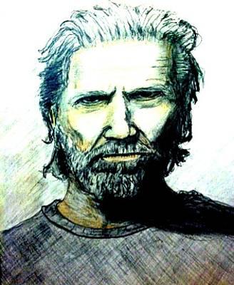 Jeff Bridges Art Print by Larry Lamb