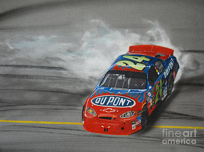 Sport Car Drawing - Jeff Gordon Victory Burnout by Paul Kuras