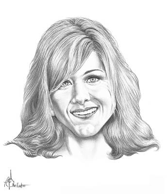 Famous People Drawing - Jennifer Aniston by Murphy Elliott