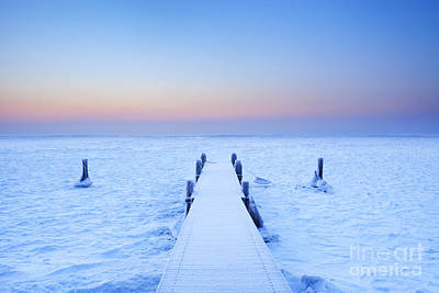 Markermeer Photograph - Jetty On A Frozen Lake by Sara Winter