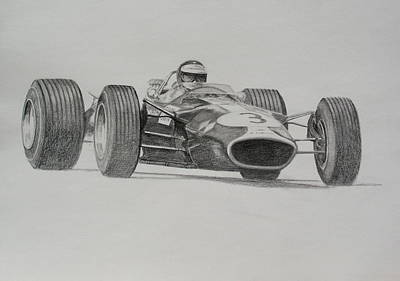 Drawing - Jim Clark  Lotus 49 by Steve Jones