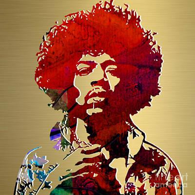 Jimi Mixed Media - Jimi Hendrix Gold Series by Marvin Blaine