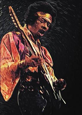 Jazz Digital Art - Jimi Hendrix by Taylan Apukovska