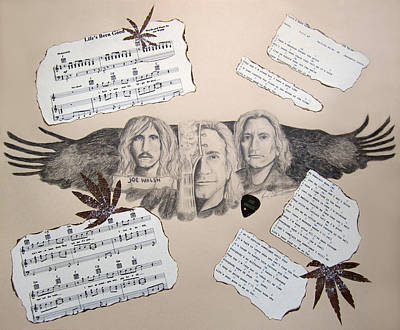 Telecaster Drawing - Joe Walsh Good Life by Renee Catherine Wittmann