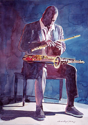 Jazz Painting Royalty Free Images - John Coltrane Royalty-Free Image by David Lloyd Glover