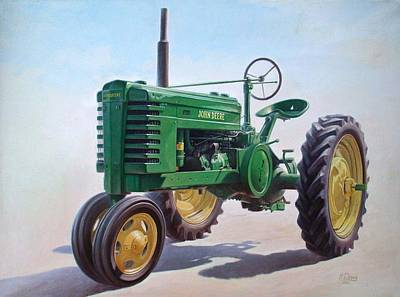 Wheels Painting - John Deere Tractor by Hans Droog