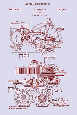 Drawing - John Deere Tractor Patent 1933 by Mountain Dreams