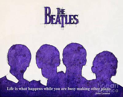 John Lennon Portrait Drawing - John Lennon Quote - The Beatles by Pablo Franchi