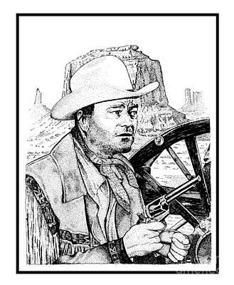 John Wayne And Six Shooter Art Print by Joseph Juvenal