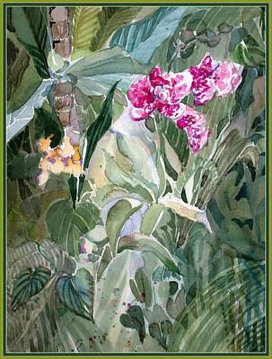 Orchids Drawing - Jungle Orchids by Mindy Newman