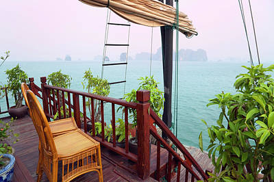 Junk Boat Photograph - Junk Boat And Karst Islands In Halong by Keren Su